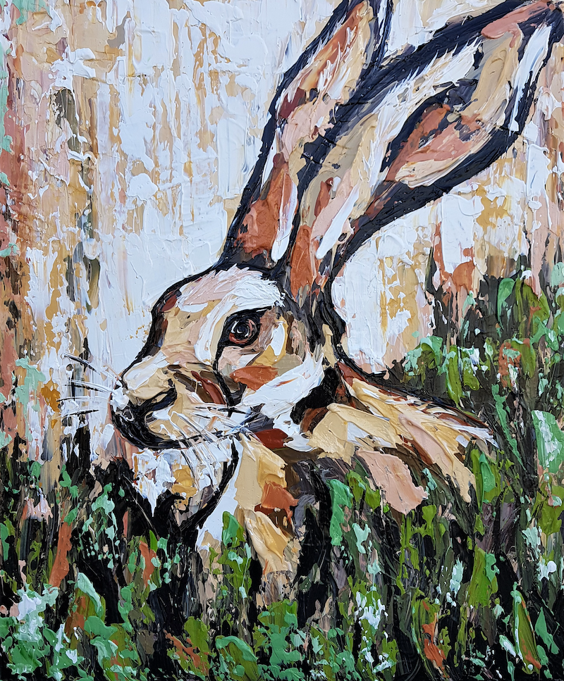 (CreativeWork) Hare Near the Burrow - SALE PRICE by Lisa Fahey. mixed-media. Shop online at Bluethumb.
