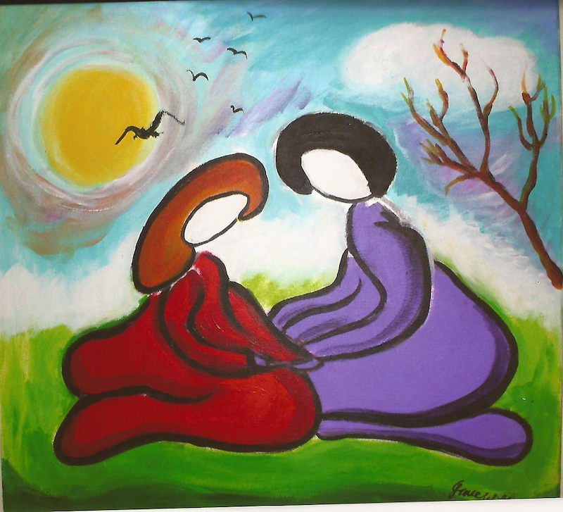 (CreativeWork) love by grace wilkinson. arcylic-painting. Shop online at Bluethumb.