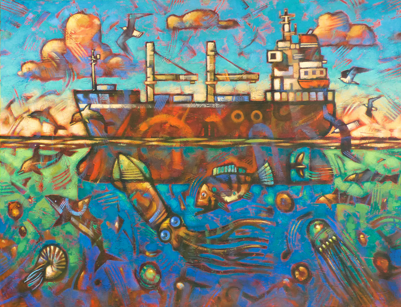 (CreativeWork) All At Sea by Malcolm Lindsay. acrylic-painting. Shop online at Bluethumb.