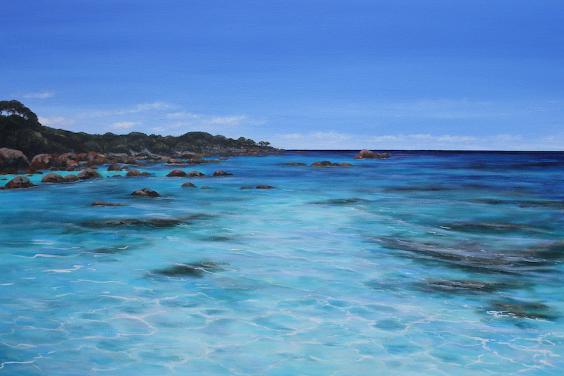 (CreativeWork) Beyond Blue  by Ann Steer. acrylic-painting. Shop online at Bluethumb.