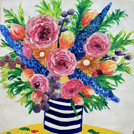 (CreativeWork) These Flowers are Forever by Wendy Hocking. Acrylic Paint. Shop online at Bluethumb.