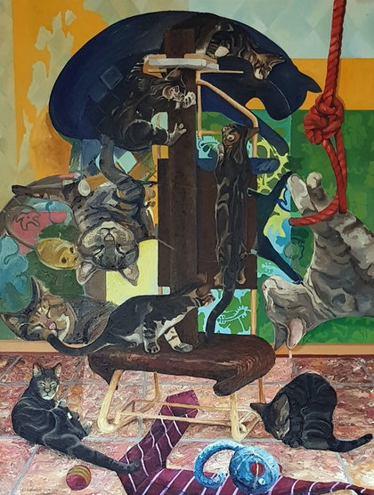(CreativeWork) Playful Cats by Leo Alexander Scott. oil-painting. Shop online at Bluethumb.