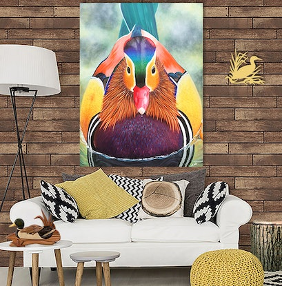 (CreativeWork) Mandarin Duck by Andrea Marriette. Mixed Media. Shop online at Bluethumb.