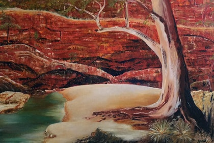 (CreativeWork) Ormiston Gorge  by Angie Aubert. oil-painting. Shop online at Bluethumb.