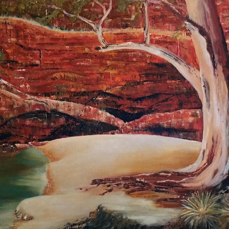 (CreativeWork) Ormiston Gorge  by Angie Aubert. Oil Paint. Shop online at Bluethumb.