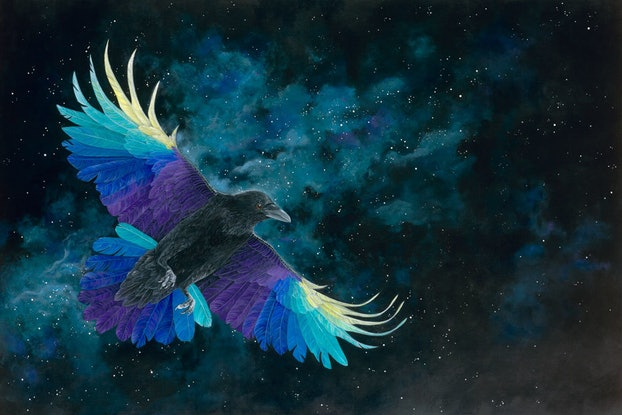 (CreativeWork) Amethyst Raven - Framed Original  by Rebecca Phillips. Acrylic Paint. Shop online at Bluethumb.