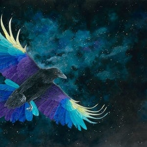 (CreativeWork) Amethyst Raven by Rebecca Phillips. acrylic-painting. Shop online at Bluethumb.