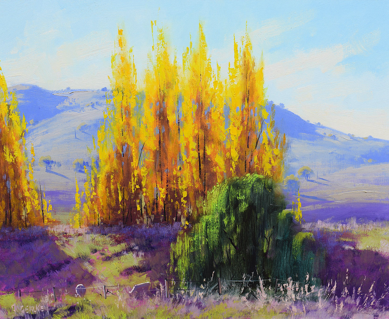 (CreativeWork) Autumn Poplars near Mudgee by Graham Gercken. oil-painting. Shop online at Bluethumb.