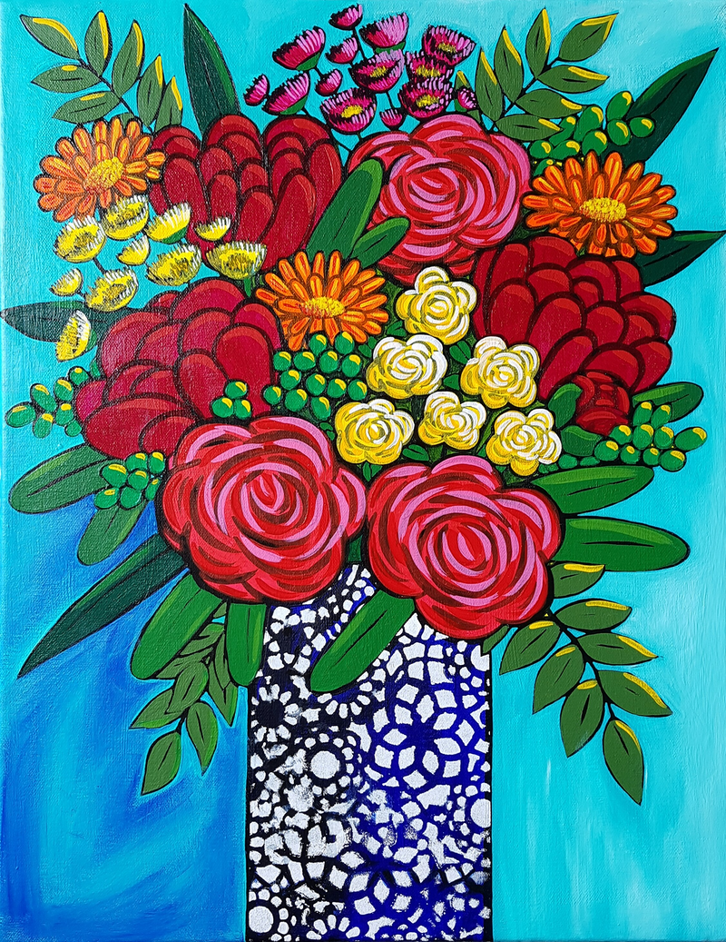 (CreativeWork) Floral Zing by Alice West. arcylic-painting. Shop online at Bluethumb.
