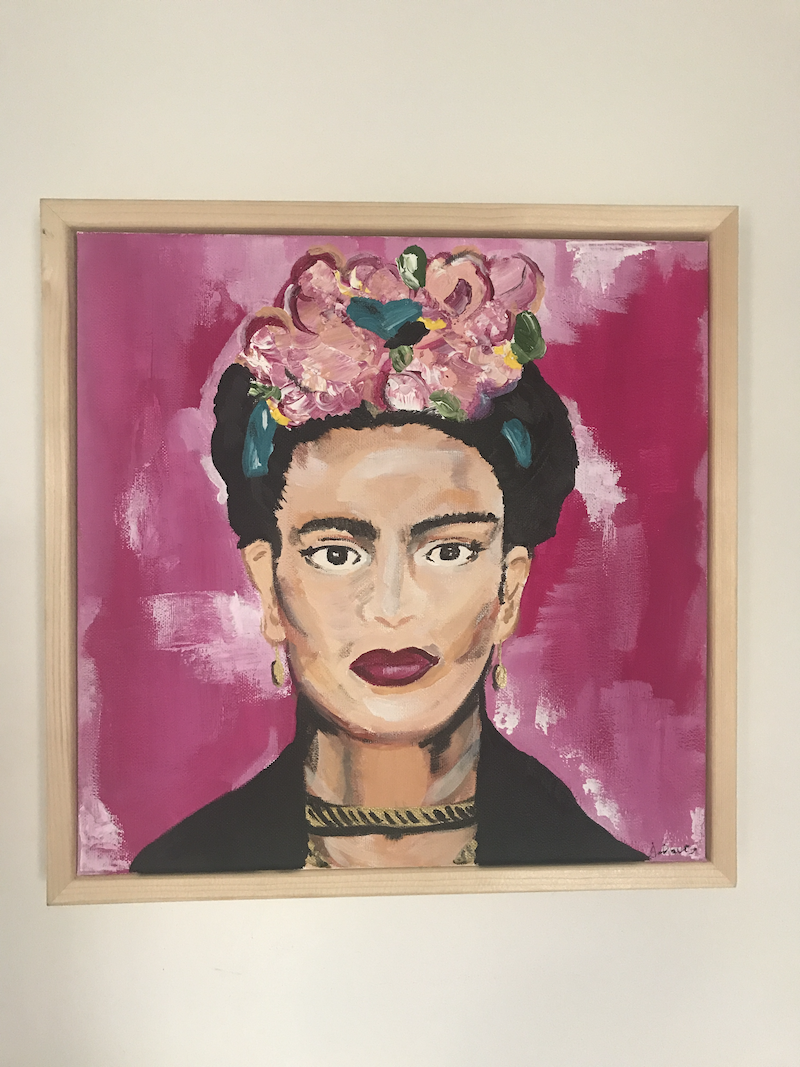 (CreativeWork) Frida Kahlo by Joey Davis. arcylic-painting. Shop online at Bluethumb.