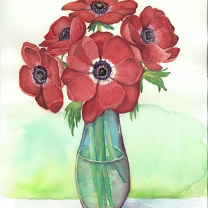 (CreativeWork) Red Anemone Coronaria by Sarah Silva. watercolour. Shop online at Bluethumb.