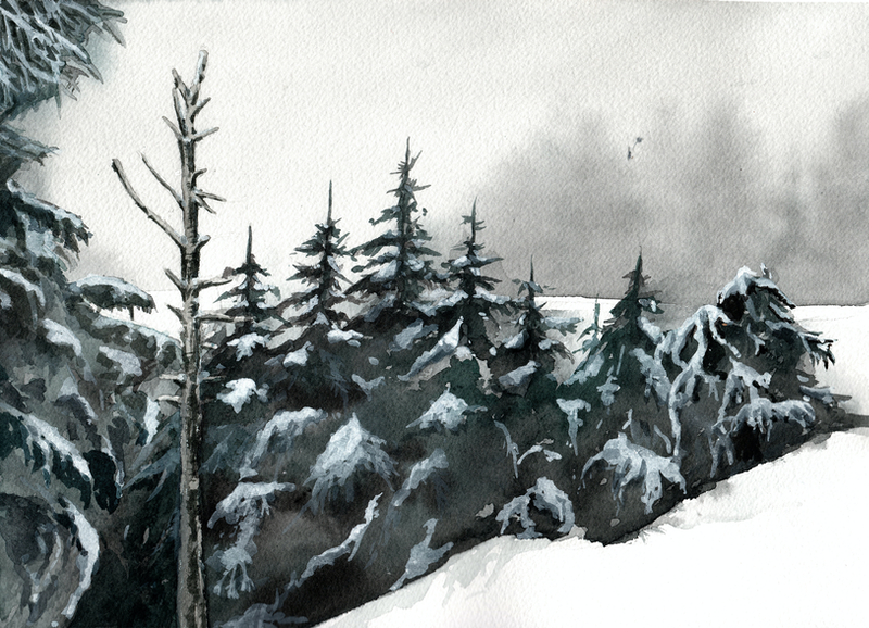 (CreativeWork) Killington Mountain View by Sarah Silva. watercolour. Shop online at Bluethumb.