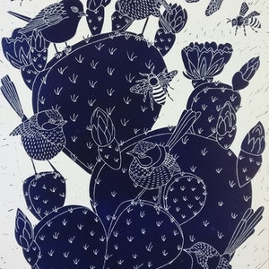 (CreativeWork) Prickly Pear and Fairy Wrens Lino print Ed. 5 of 150 by Marinka Parnham. print. Shop online at Bluethumb.