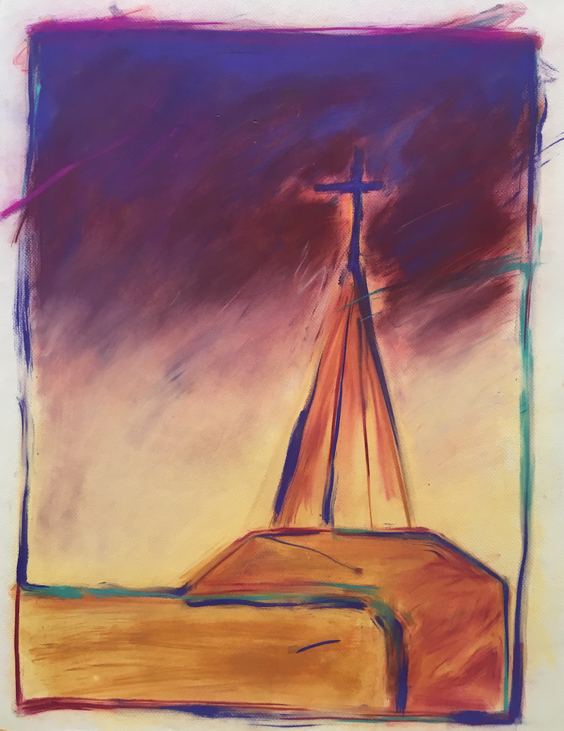 (CreativeWork) Church at Sunset by Jewell Homad Johnson. drawing. Shop online at Bluethumb.