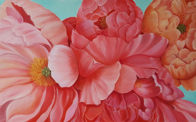 (CreativeWork) Coral Peonies  by Christine Hookham. #<Filter:0x00007fc1835a2070>. Shop online at Bluethumb.
