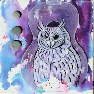 (CreativeWork) Owl Wisdom by Michelle Ward. mixed-media. Shop online at Bluethumb.