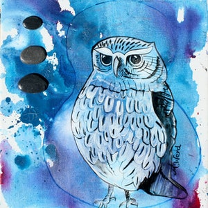 (CreativeWork) Mystical Owl  by Michelle Ward. #<Filter:0x000055c8c9ca7870>. Shop online at Bluethumb.