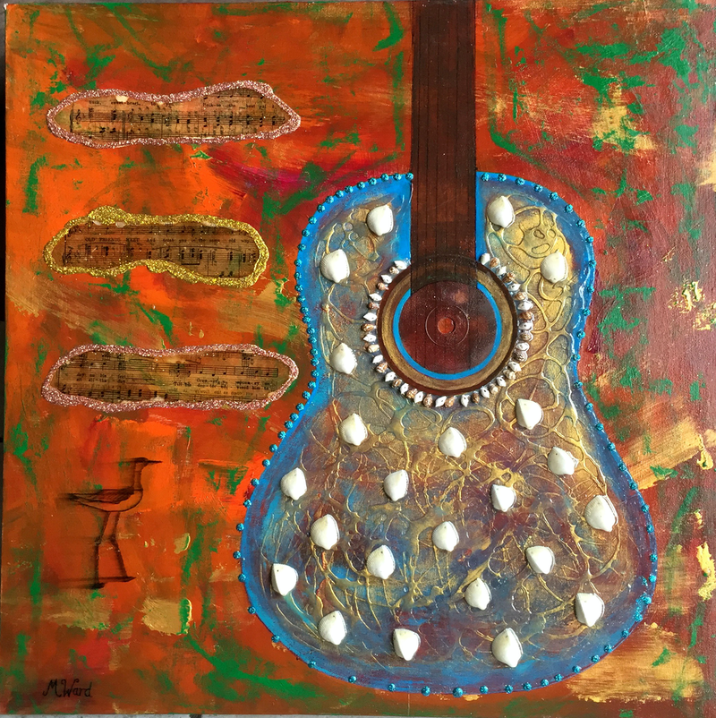 (CreativeWork) Rustic Guitar by Michelle Ward. mixed-media. Shop online at Bluethumb.
