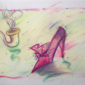 (CreativeWork) Pink Shoe and Pipe - Collectable 80s by Jewell Homad Johnson. drawing. Shop online at Bluethumb.