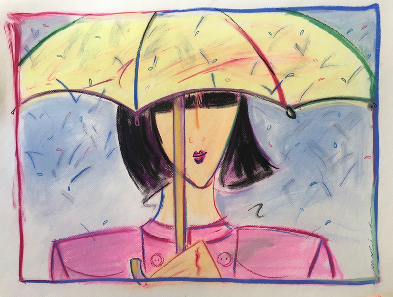 (CreativeWork) Girl with Umbrella - Collectable 80s by Jewell Homad Johnson. drawing. Shop online at Bluethumb.