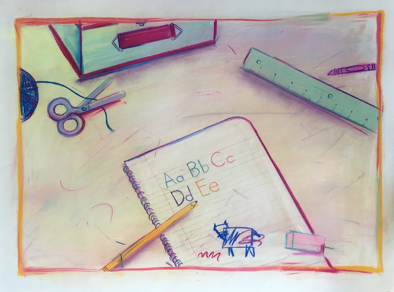 (CreativeWork) Kid's School - Collectable 80s by Jewell Homad Johnson. drawing. Shop online at Bluethumb.