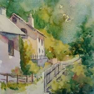 (CreativeWork) Alpine retreat. by Vivi Palegeorge. watercolour. Shop online at Bluethumb.