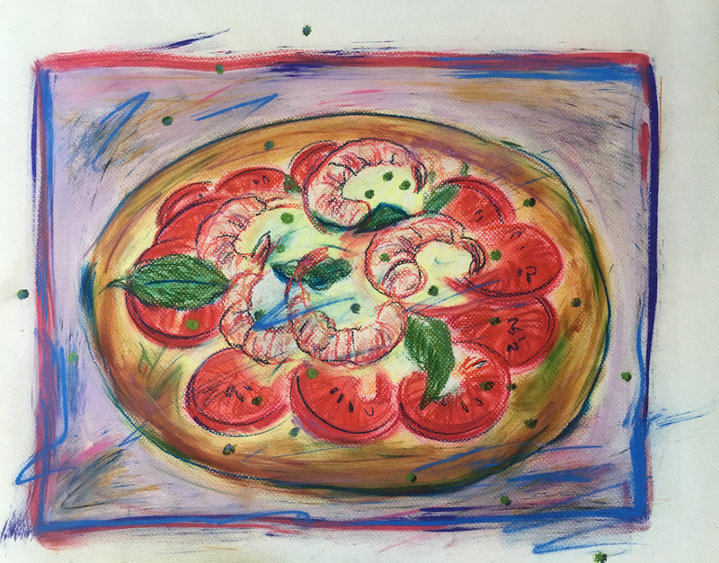 (CreativeWork) Prawn Pizza - Collectable 80s by Jewell Homad Johnson. drawing. Shop online at Bluethumb.