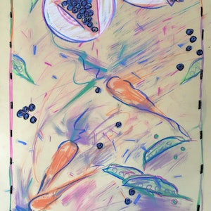 (CreativeWork) Blueberries, Carrots and Peas -Collectable 80s by Jewell Homad Johnson. drawing. Shop online at Bluethumb.