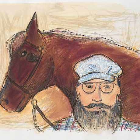 (CreativeWork) Bearded Man with Horse - Collectable 80s by Jewell Homad Johnson. Mixed Media. Shop online at Bluethumb.
