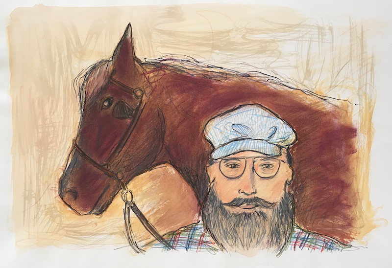 (CreativeWork) Bearded Man with Horse - Collectable 80s by Jewell Homad Johnson. mixed-media. Shop online at Bluethumb.