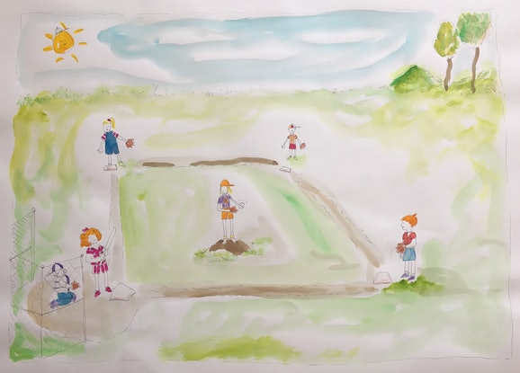 (CreativeWork) Softball Games Kids by Jewell Homad Johnson. Mixed Media. Shop online at Bluethumb.