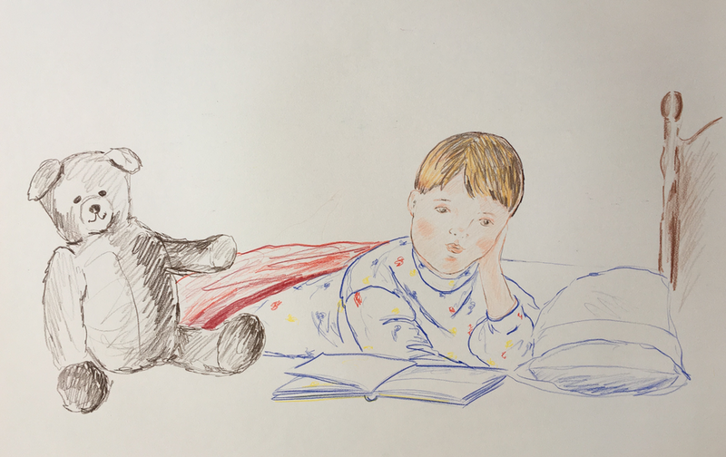 (CreativeWork) Boy with Teddy Bear - Collectable 80s by Jewell Homad Johnson. drawing. Shop online at Bluethumb.