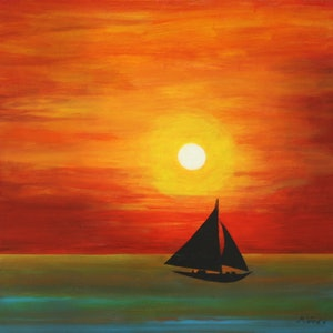 (CreativeWork) Sunset Sailing by Michelle Ward. arcylic-painting. Shop online at Bluethumb.
