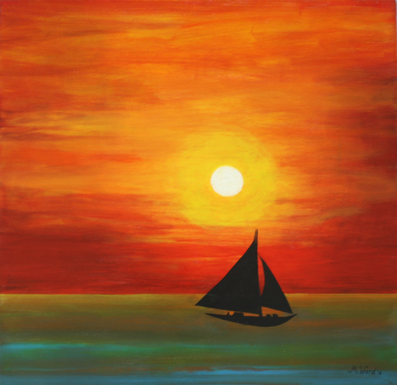 (CreativeWork) Sunset Sailing by Michelle Ward. #<Filter:0x00005597d0d59428>. Shop online at Bluethumb.