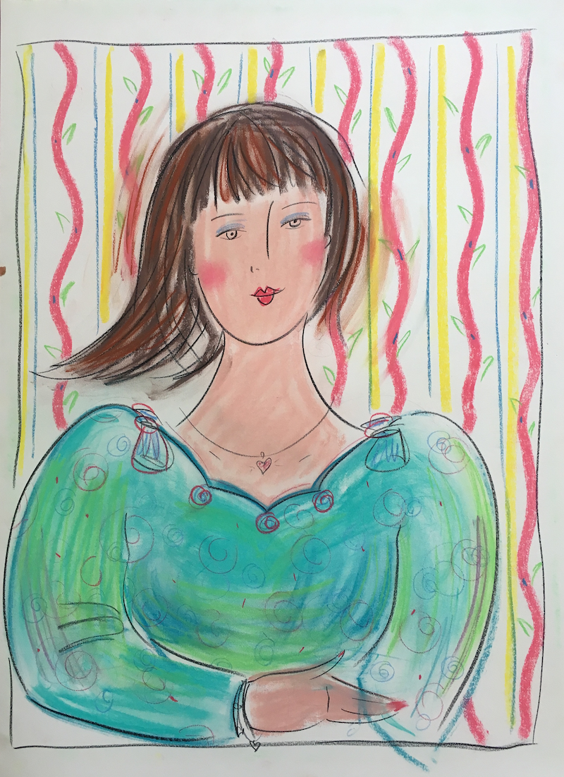 (CreativeWork) Brunette Girl Woman - Collectable 80s by Jewell Homad Johnson. Drawings. Shop online at Bluethumb.