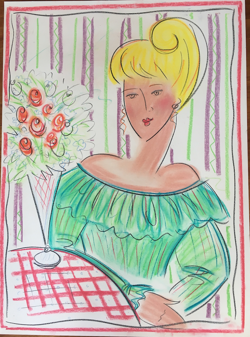 (CreativeWork) Blonde Woman and Roses - Collectable 80s by Jewell Homad Johnson. drawing. Shop online at Bluethumb.