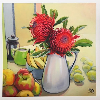 (CreativeWork) Kitchen waratahs (50 cm Giclee fine art print) Ed. 1 of 20 by kirsty mcintyre. print. Shop online at Bluethumb.