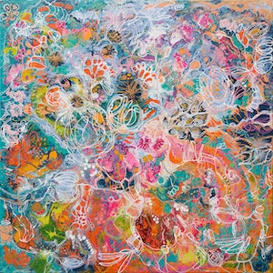 (CreativeWork) Reef Flowers by Tina Dinte. arcylic-painting. Shop online at Bluethumb.