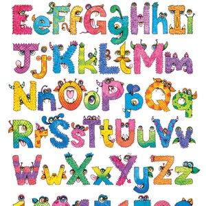 (CreativeWork) Monster Alphabet by Katherine Appleby. watercolour. Shop online at Bluethumb.