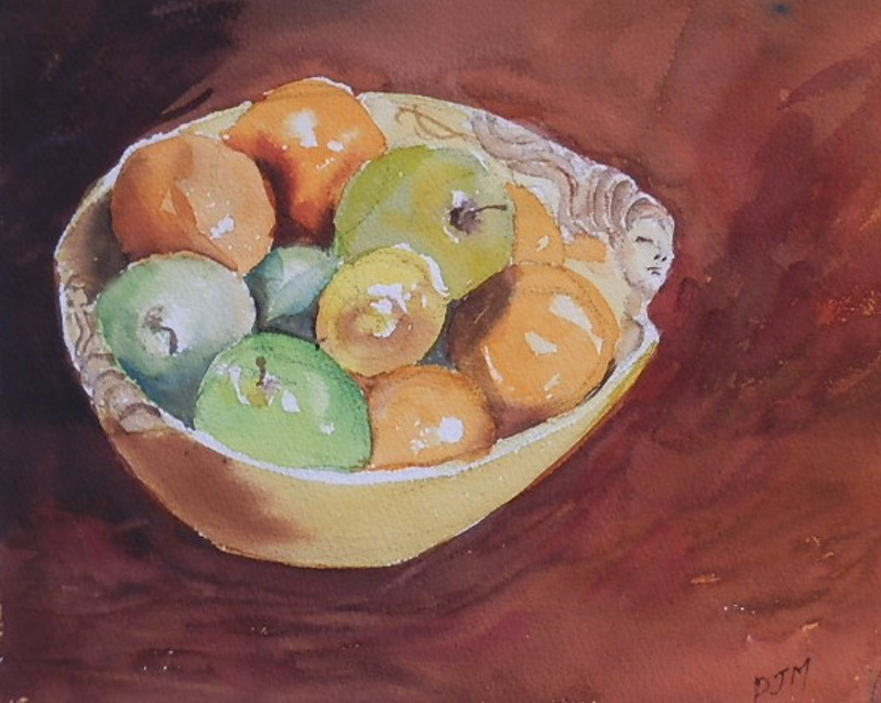 (CreativeWork) fruit bowl by Phillip Mylecharane. watercolour. Shop online at Bluethumb.