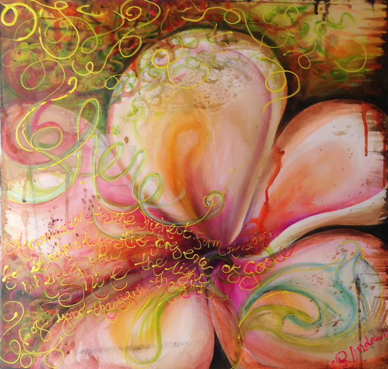 (CreativeWork) Flowers Shine the Light by Bec Andrews. arcylic-painting. Shop online at Bluethumb.