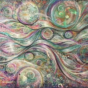 (CreativeWork) Ebbs and Flows by Bec Andrews. arcylic-painting. Shop online at Bluethumb.