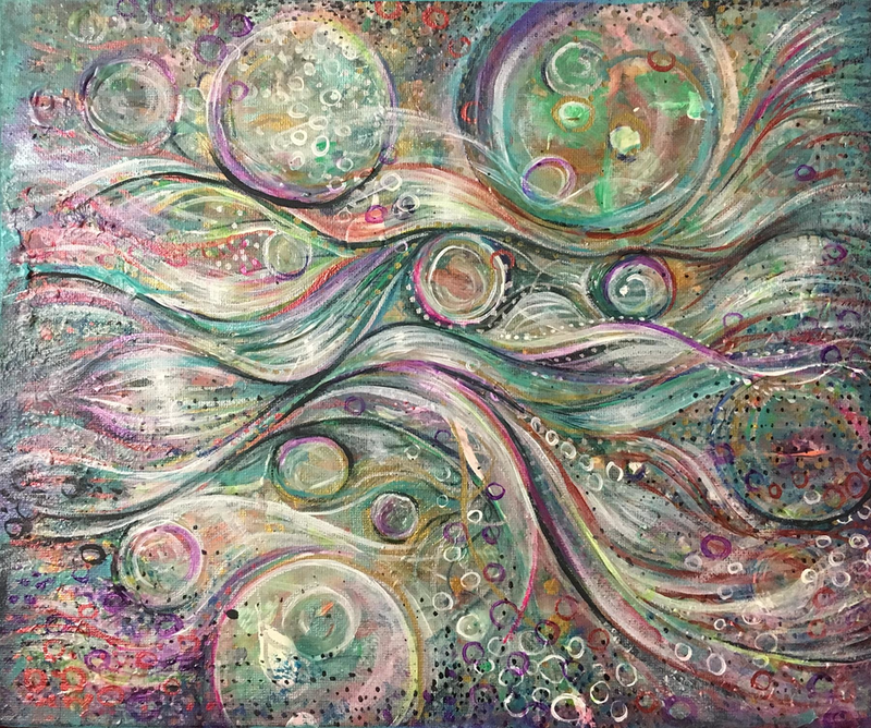 (CreativeWork) Ebbs and Flows by Bec Andrews. acrylic-painting. Shop online at Bluethumb.