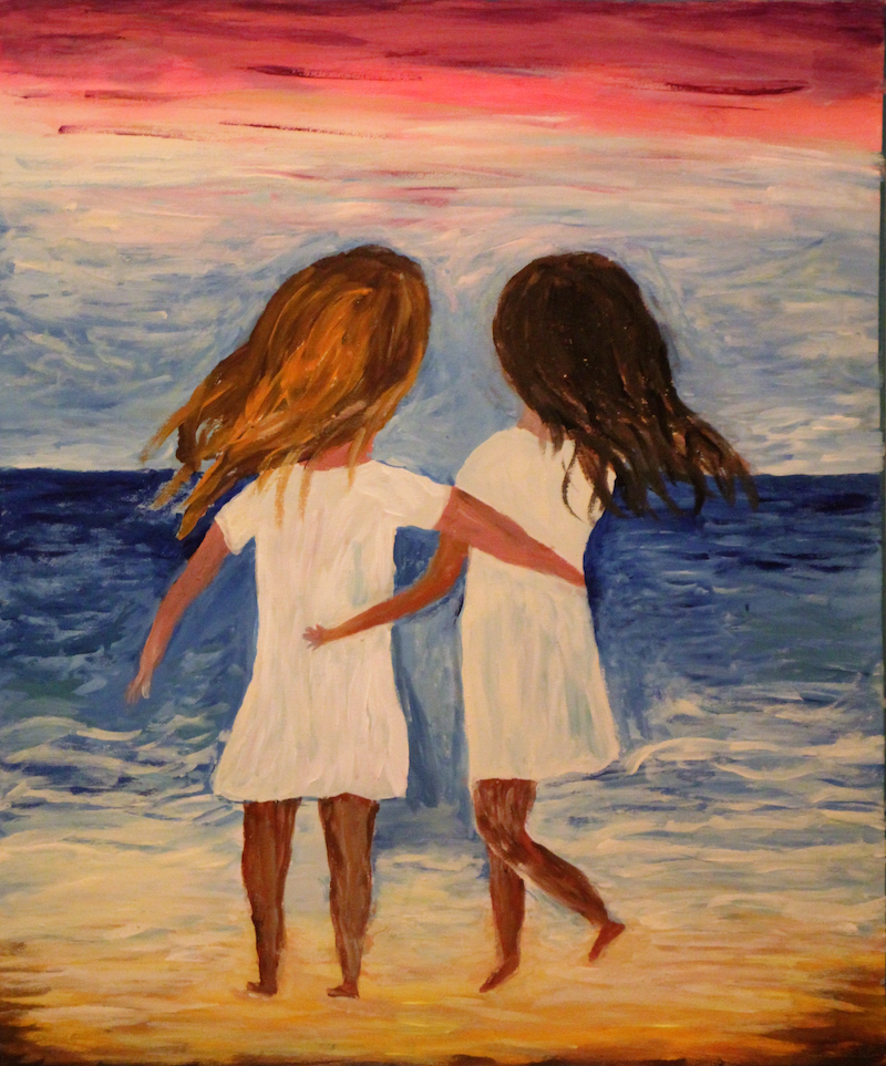 (CreativeWork) Besties by Wendy Hocking. arcylic-painting. Shop online at Bluethumb.