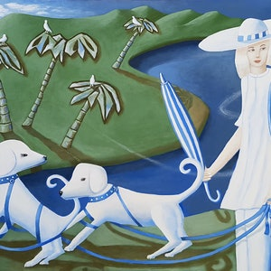 (CreativeWork) WALKING THE DOGS  by Geoffrey Stapleton. acrylic-painting. Shop online at Bluethumb.