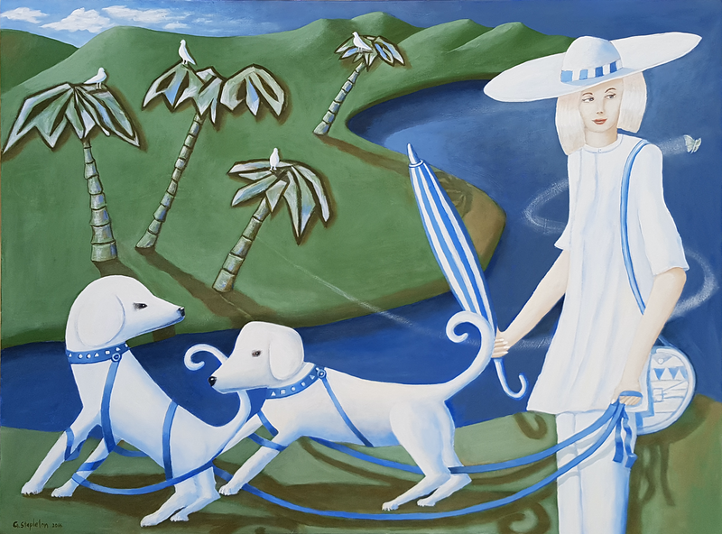 (CreativeWork) WALKING THE DOGS  by Geoffrey Stapleton. arcylic-painting. Shop online at Bluethumb.