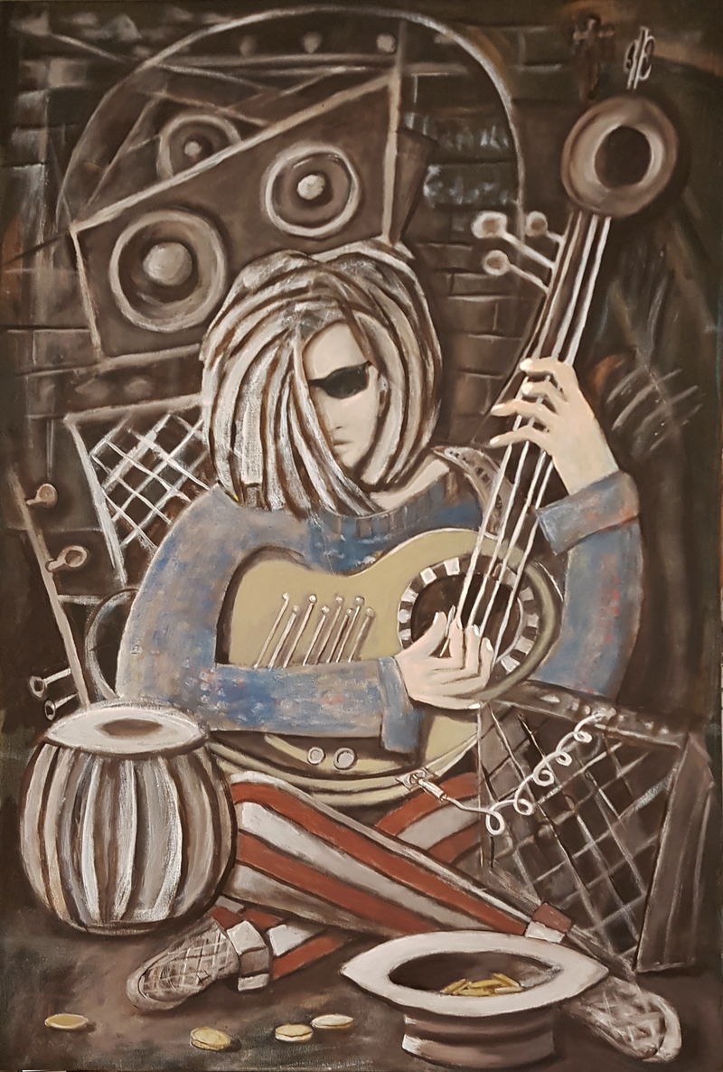 (CreativeWork) THE BUSKER  by Geoffrey Stapleton. arcylic-painting. Shop online at Bluethumb.