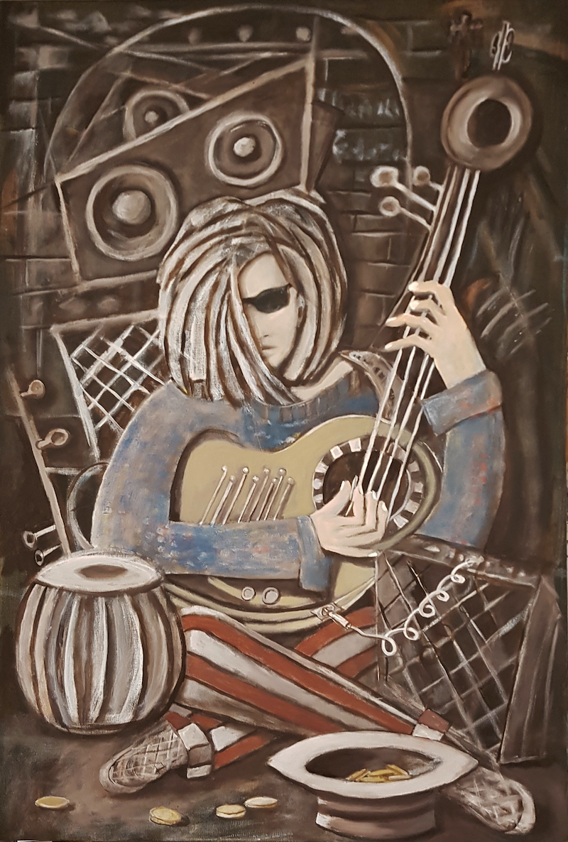 (CreativeWork) THE BUSKER  by Geoffrey Stapleton. acrylic-painting. Shop online at Bluethumb.