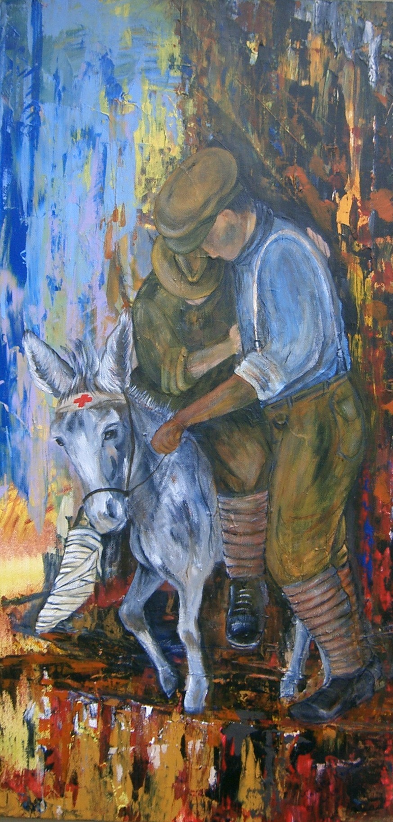 (CreativeWork) Simpson and his Donkey by Janette Newman. arcylic-painting. Shop online at Bluethumb.