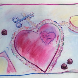 (CreativeWork) Love Hearts - Collectable 80s by Jewell Homad Johnson. drawing. Shop online at Bluethumb.